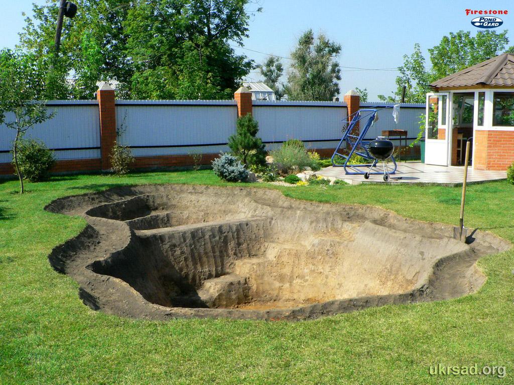 Бассейн в саду из пленки